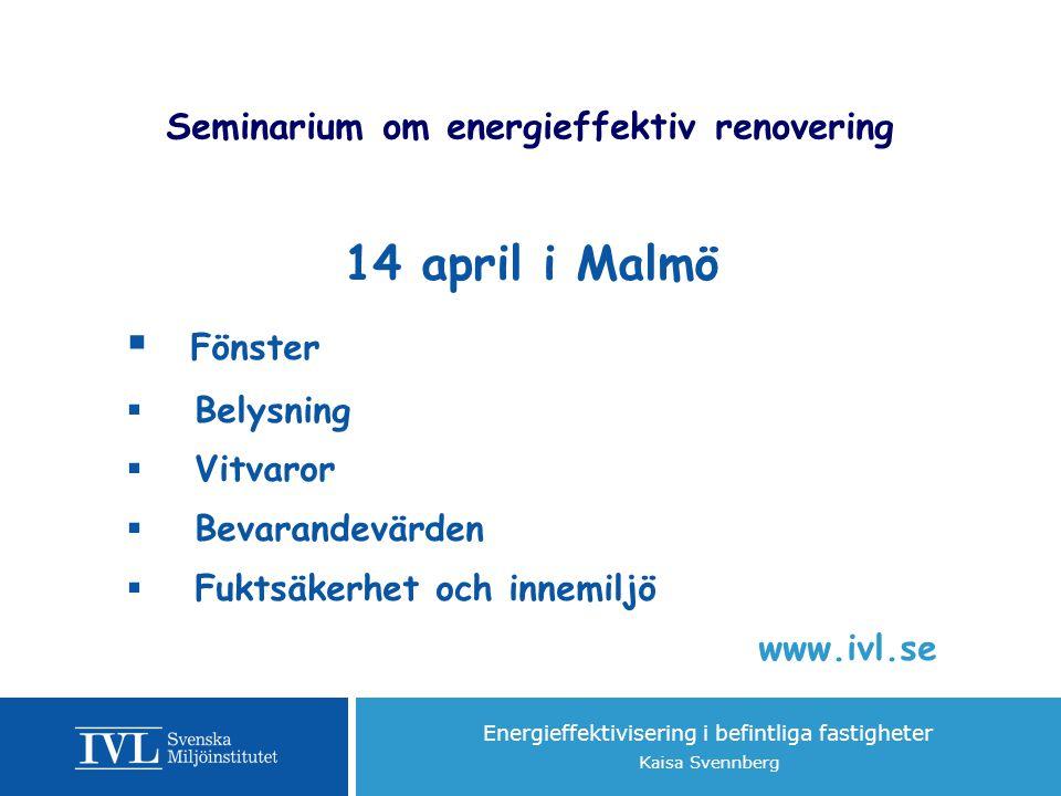 Seminarium om energieffektiv renovering