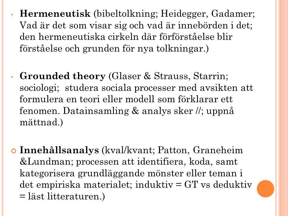 Hermeneutisk (bibeltolkning; Heidegger, Gadamer; Vad är det som visar sig och vad är innebörden i det; den hermeneutiska cirkeln där förförståelse blir förståelse och grunden för nya tolkningar.)