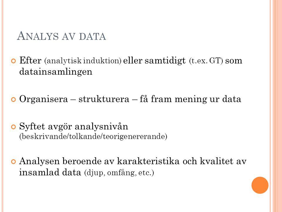 Analys av data Efter (analytisk induktion) eller samtidigt (t.ex. GT) som datainsamlingen. Organisera – strukturera – få fram mening ur data.