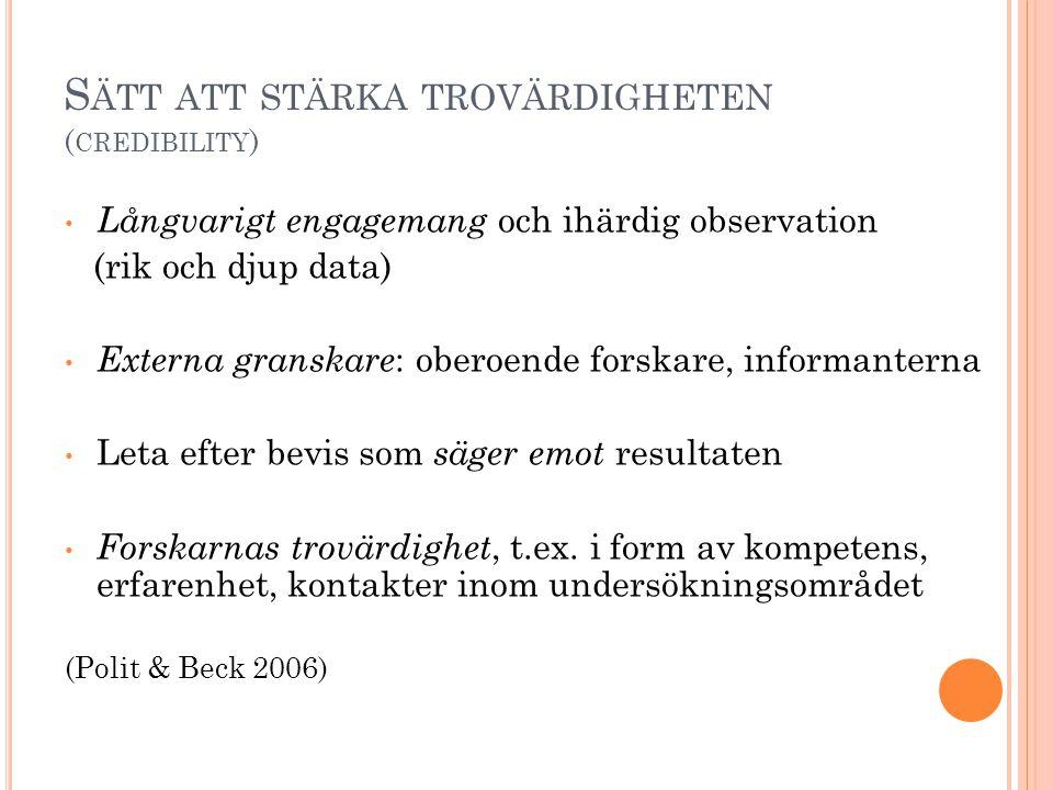 Sätt att stärka trovärdigheten (credibility)