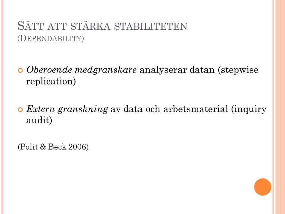 Sätt att stärka stabiliteten (Dependability)