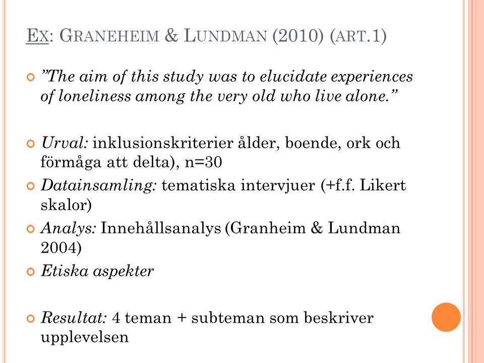 Ex: Graneheim & Lundman (2010) (art.1)