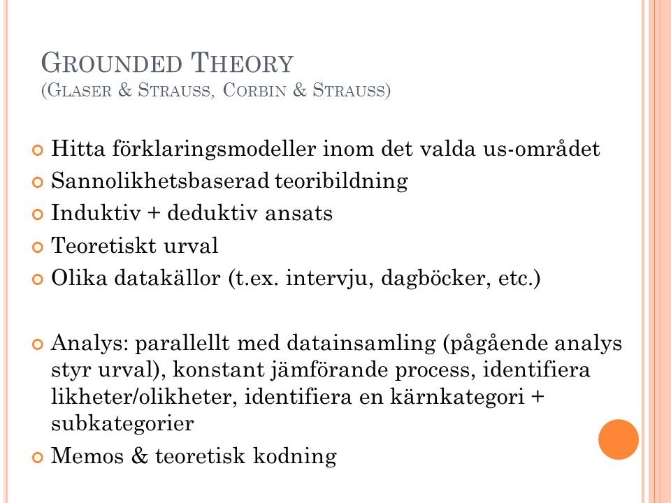 Grounded Theory (Glaser & Strauss, Corbin & Strauss)