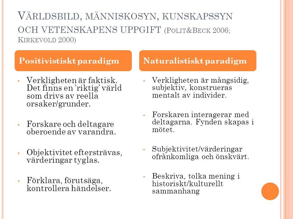 Världsbild, människosyn, kunskapssyn och vetenskapens uppgift (Polit&Beck 2006; Kirkevold 2000)