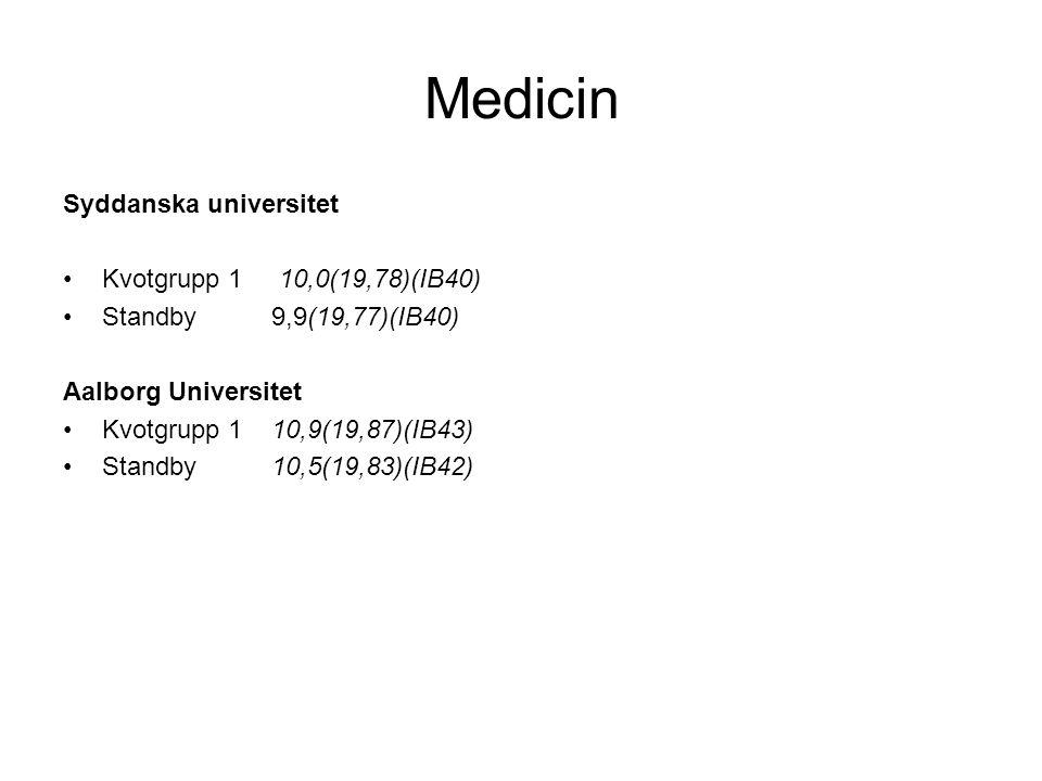 Medicin Syddanska universitet Kvotgrupp 1 10,0(19,78)(IB40)