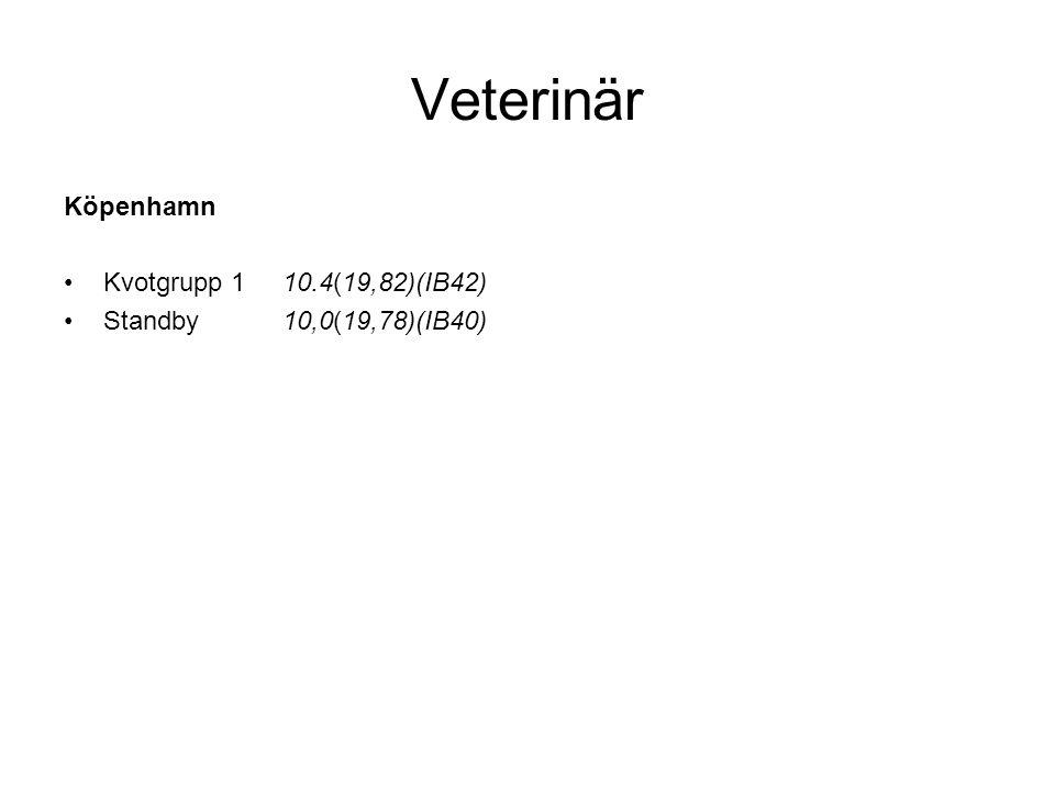 Veterinär Köpenhamn Kvotgrupp 1 10.4(19,82)(IB42)