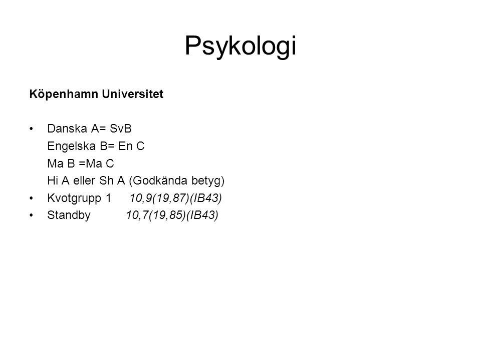 Psykologi Köpenhamn Universitet Danska A= SvB Engelska B= En C