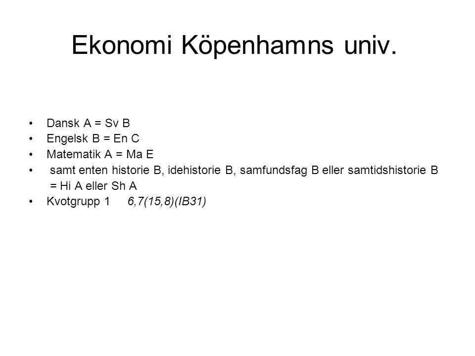 Ekonomi Köpenhamns univ.