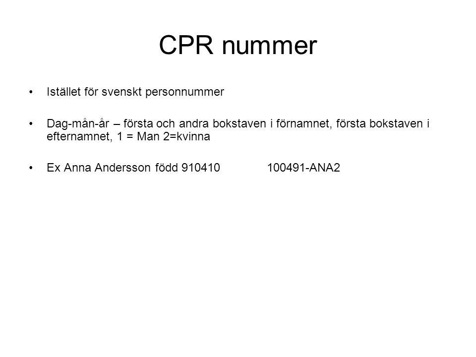 CPR nummer Istället för svenskt personnummer