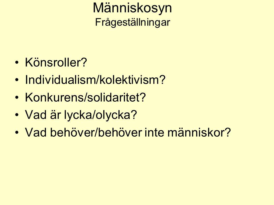 Människosyn Frågeställningar