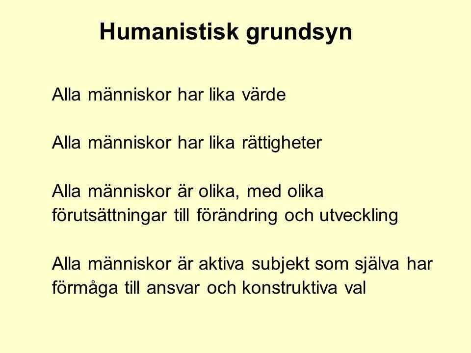 Humanistisk grundsyn Alla människor har lika värde