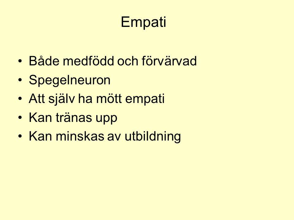 Empati Både medfödd och förvärvad Spegelneuron