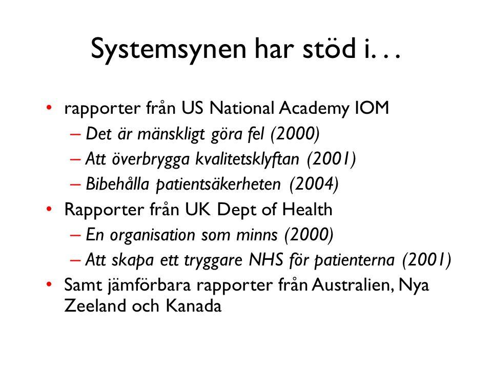 Systemsynen har stöd i. . . rapporter från US National Academy IOM