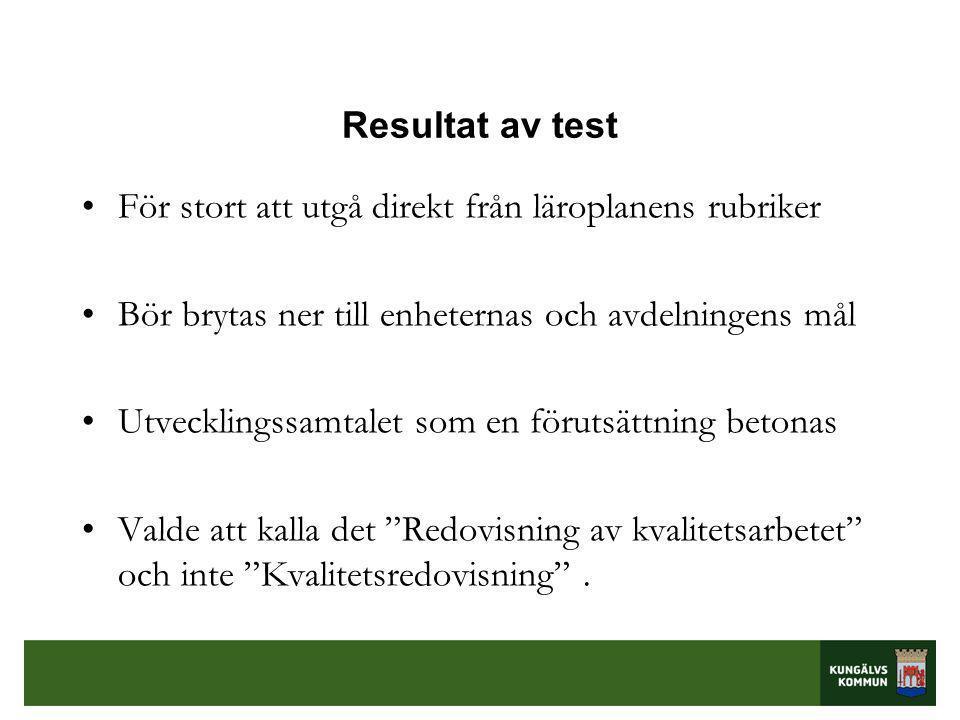Resultat av test För stort att utgå direkt från läroplanens rubriker. Bör brytas ner till enheternas och avdelningens mål.
