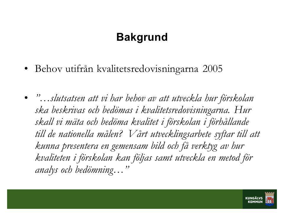 Bakgrund Behov utifrån kvalitetsredovisningarna 2005.