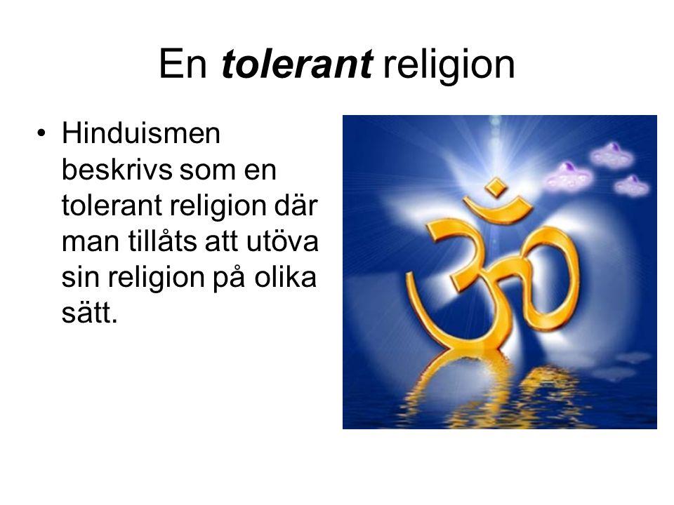 Hinduismen beskrivs som en tolerant religion där man tillåts att utöva sin religion på olika sätt.