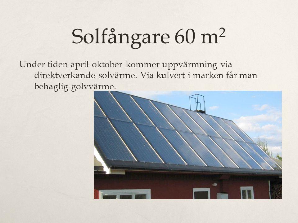 Solfångare 60 m2 Under tiden april-oktober kommer uppvärmning via direktverkande solvärme. Via kulvert i marken får man behaglig golvvärme.