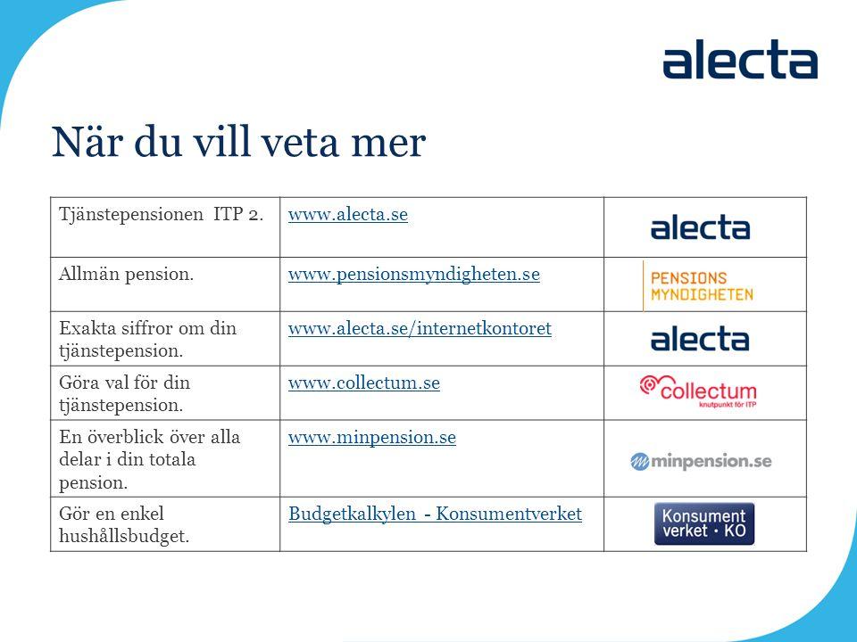 När du vill veta mer Tjänstepensionen ITP 2. www.alecta.se