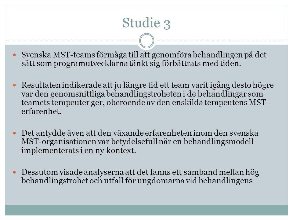 Studie 3 Svenska MST-teams förmåga till att genomföra behandlingen på det sätt som programutvecklarna tänkt sig förbättrats med tiden.