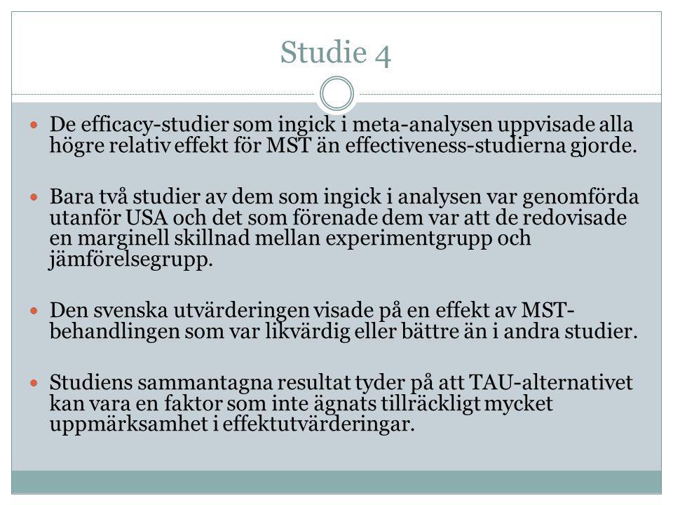 Studie 4 De efficacy-studier som ingick i meta-analysen uppvisade alla högre relativ effekt för MST än effectiveness-studierna gjorde.