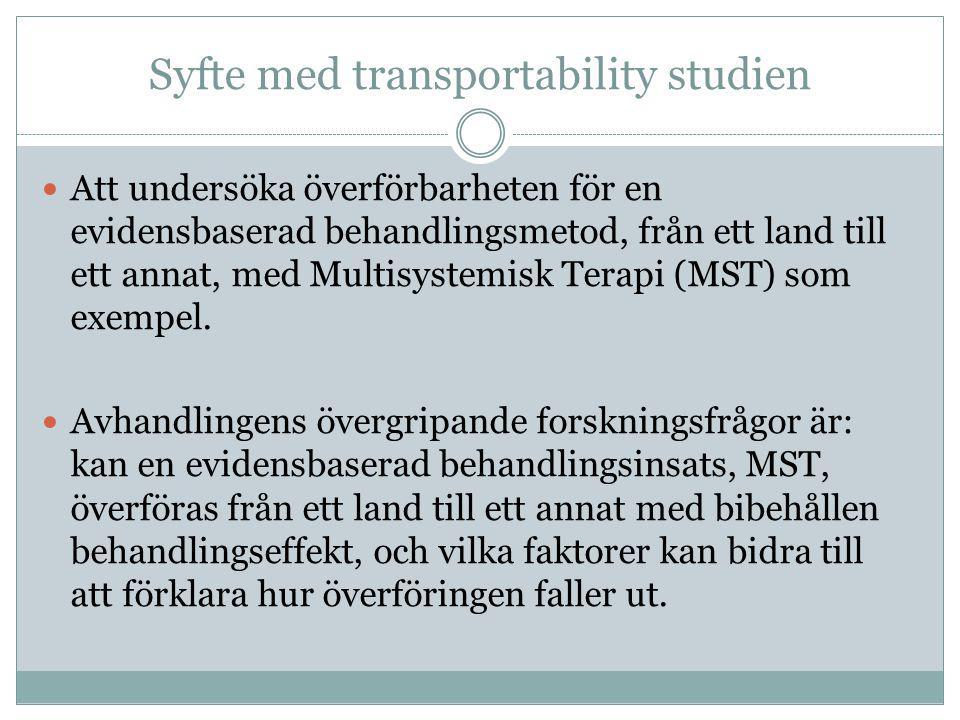 Syfte med transportability studien
