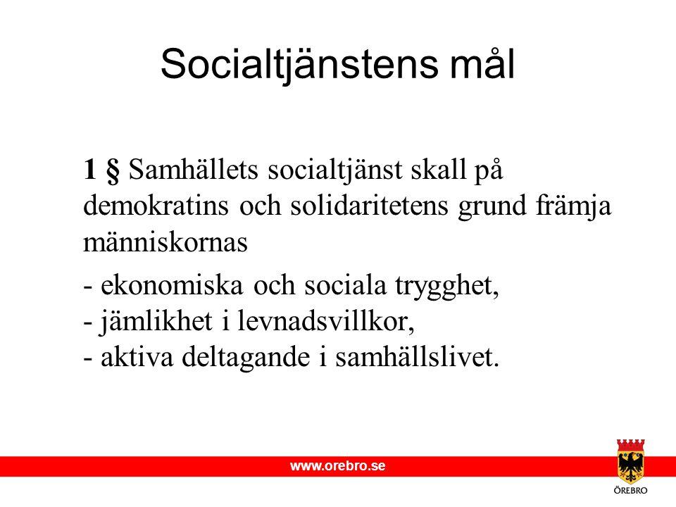 Socialtjänstens mål 1 § Samhällets socialtjänst skall på demokratins och solidaritetens grund främja människornas.