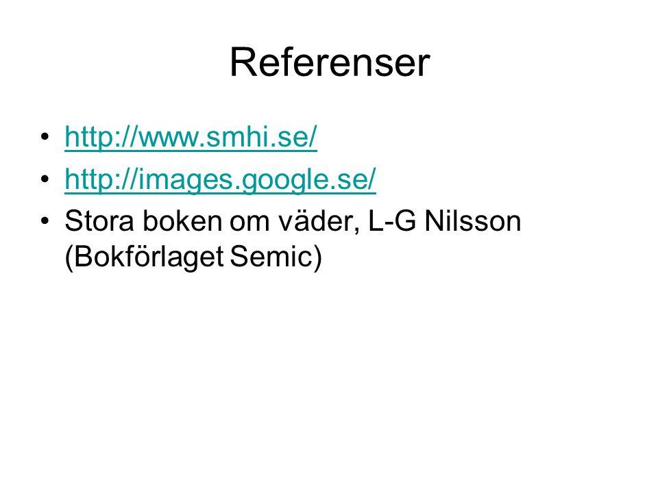 Referenser http://www.smhi.se/ http://images.google.se/