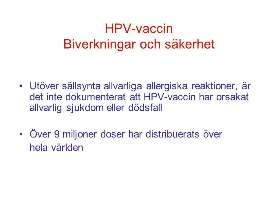 HPV-vaccin Biverkningar och säkerhet