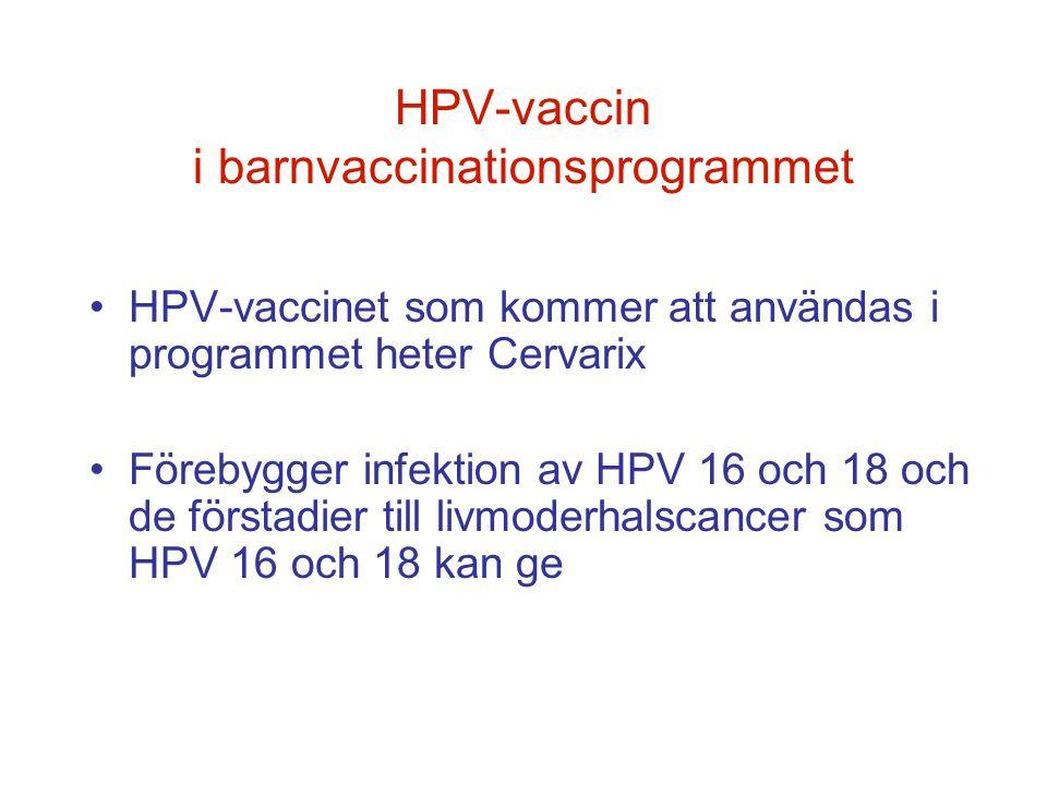 HPV-vaccin i barnvaccinationsprogrammet