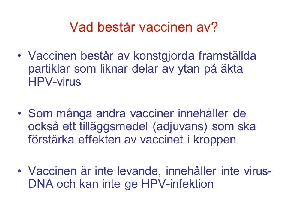 Vad består vaccinen av Vaccinen består av konstgjorda framställda partiklar som liknar delar av ytan på äkta HPV-virus.