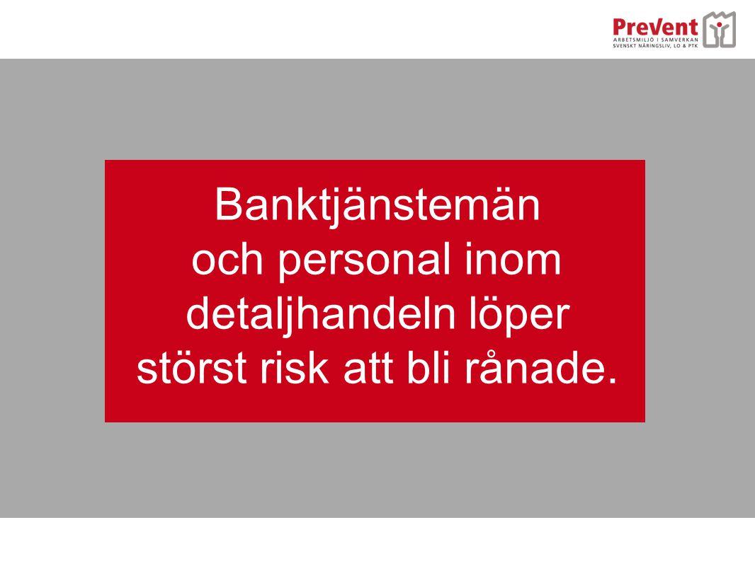 och personal inom detaljhandeln löper störst risk att bli rånade.
