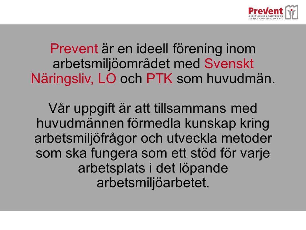 Prevent är en ideell förening inom arbetsmiljöområdet med Svenskt Näringsliv, LO och PTK som huvudmän.