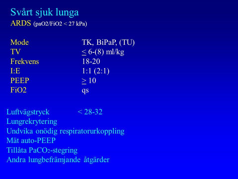 Svårt sjuk lunga ARDS (paO2/FiO2 < 27 kPa) Mode TK, BiPaP, (TU)