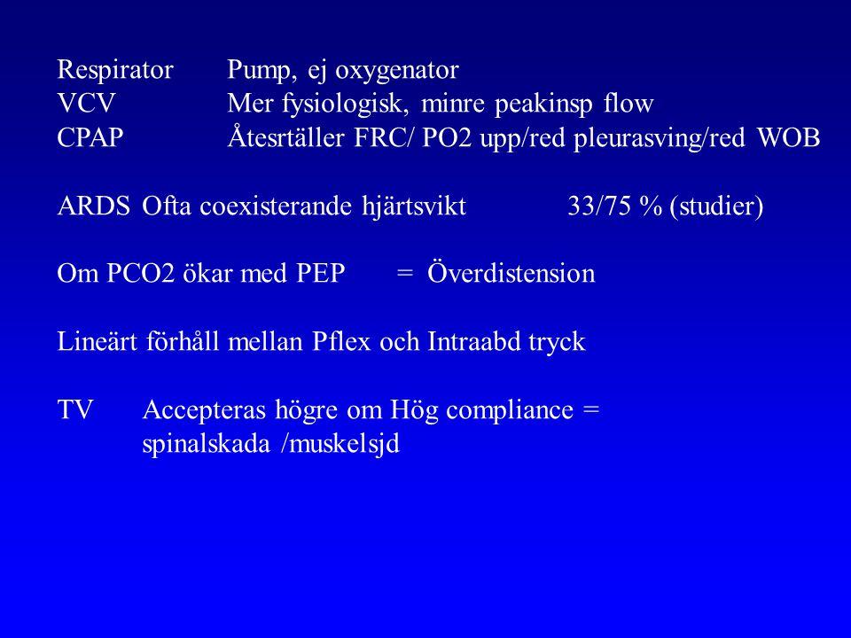 Respirator Pump, ej oxygenator