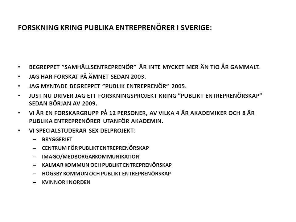 FORSKNING KRING PUBLIKA ENTREPRENÖRER I SVERIGE: