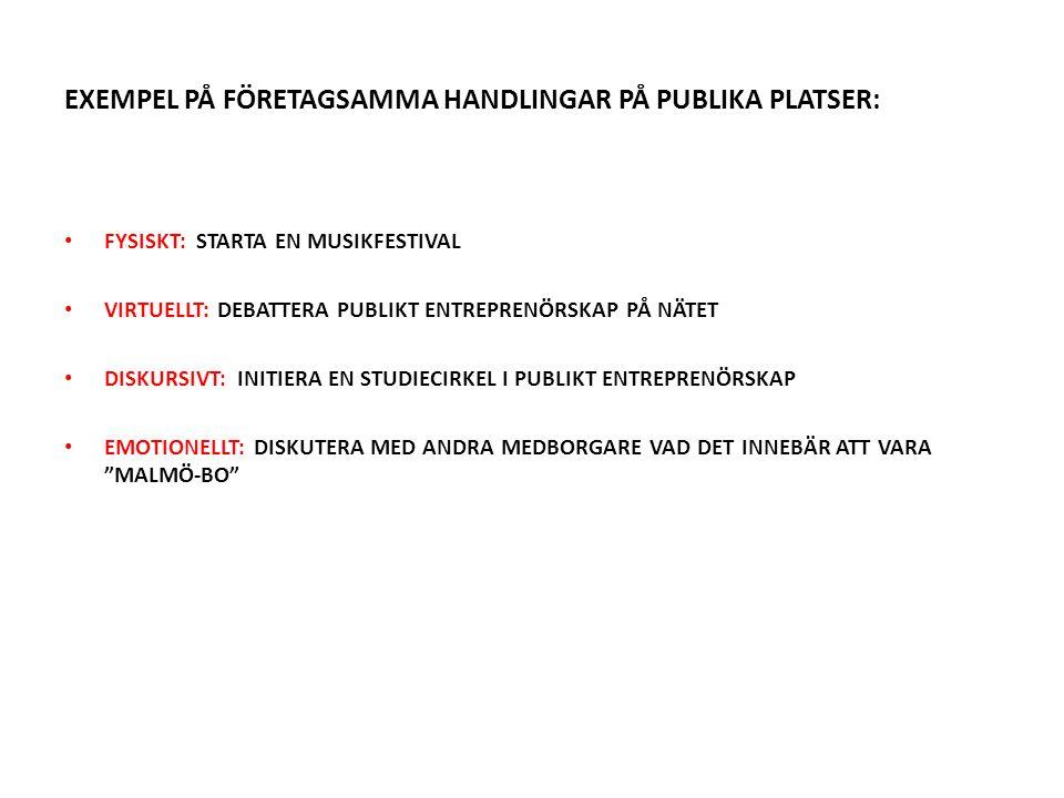 EXEMPEL PÅ FÖRETAGSAMMA HANDLINGAR PÅ PUBLIKA PLATSER: