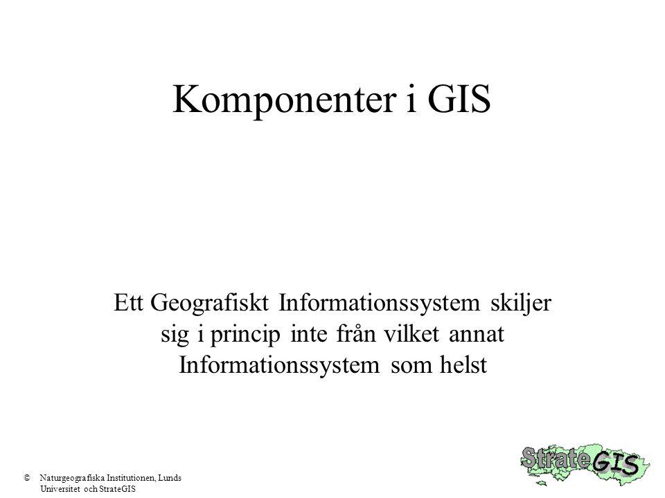 Komponenter i GIS Ett Geografiskt Informationssystem skiljer sig i princip inte från vilket annat Informationssystem som helst.