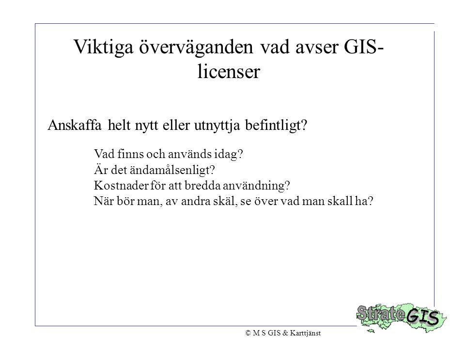 Viktiga överväganden vad avser GIS-licenser