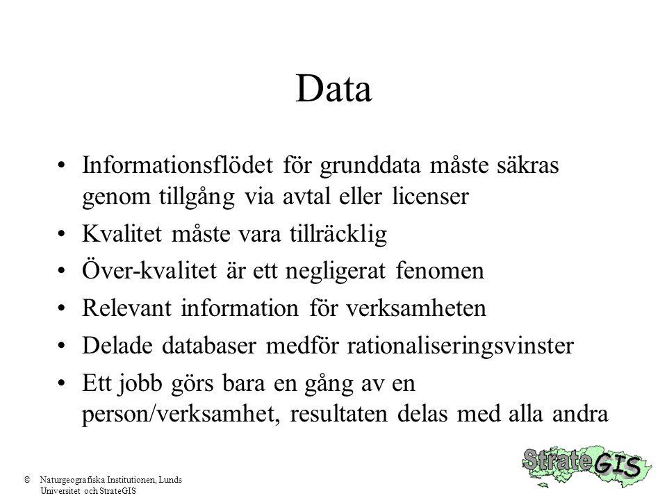 Data Informationsflödet för grunddata måste säkras genom tillgång via avtal eller licenser. Kvalitet måste vara tillräcklig.