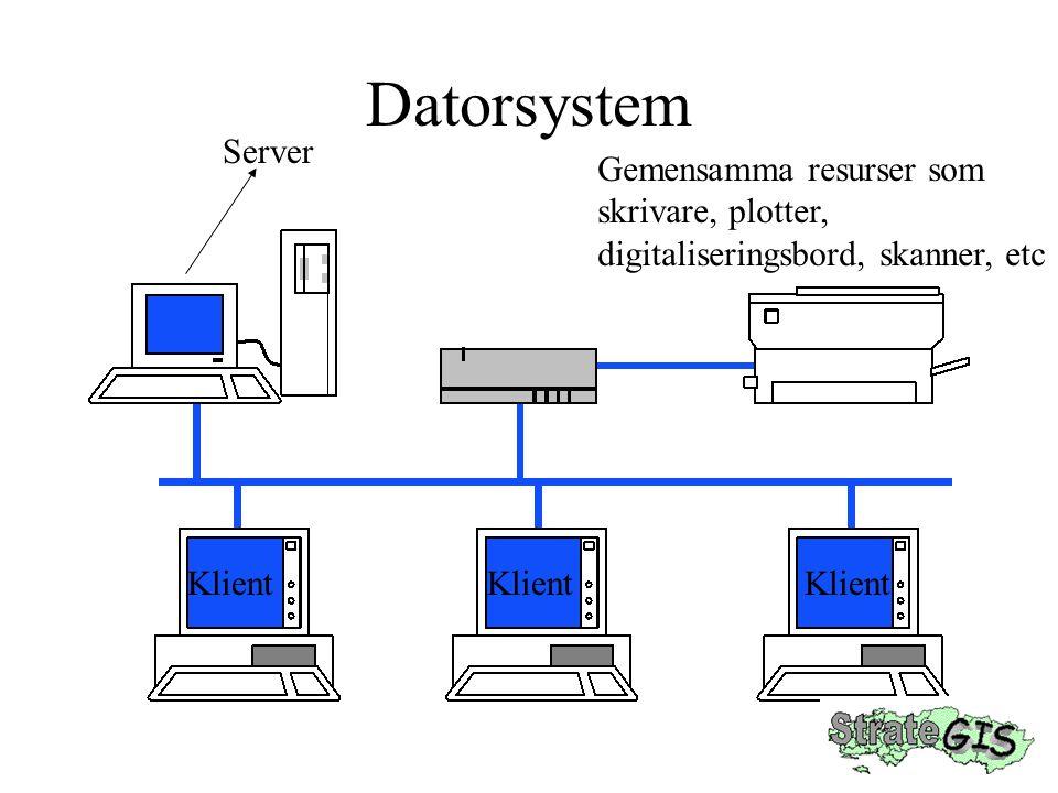 Datorsystem Server Gemensamma resurser som skrivare, plotter,