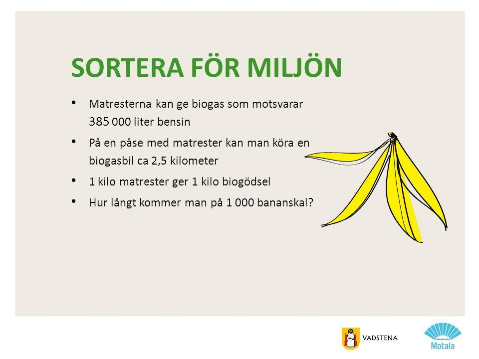 sortera för miljön Matresterna kan ge biogas som motsvarar 385 000 liter bensin.