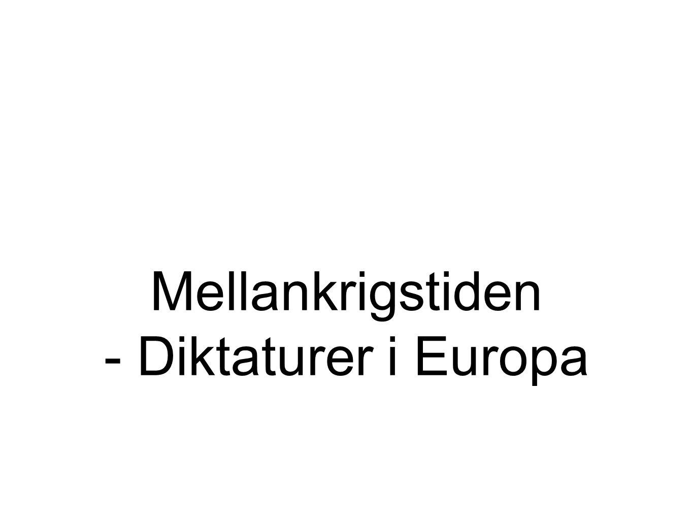 Mellankrigstiden - Diktaturer i Europa