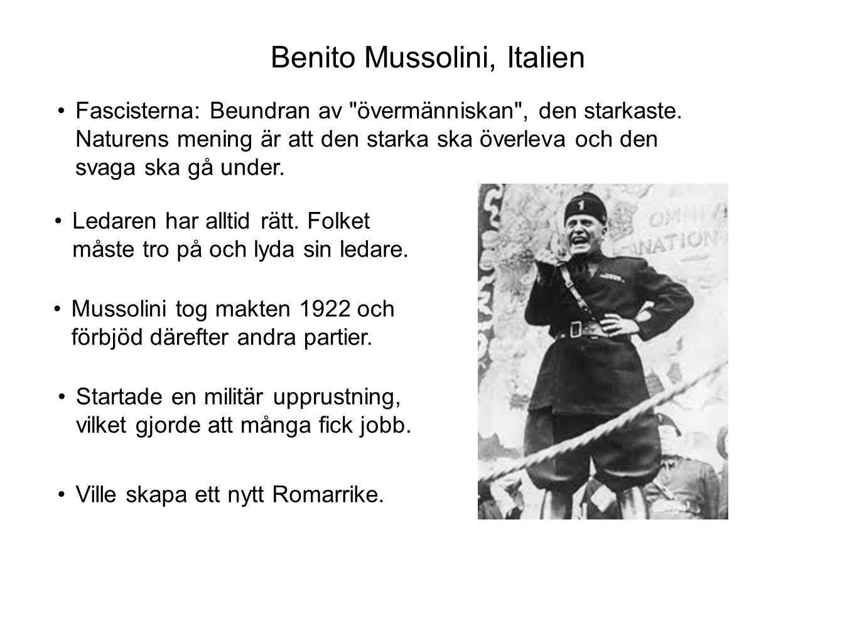 Benito Mussolini, Italien