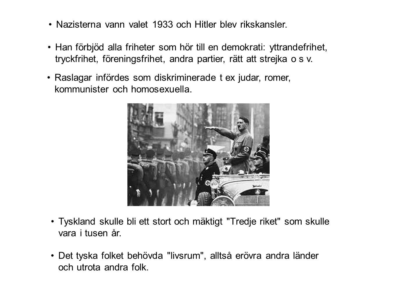 Nazisterna vann valet 1933 och Hitler blev rikskansler.