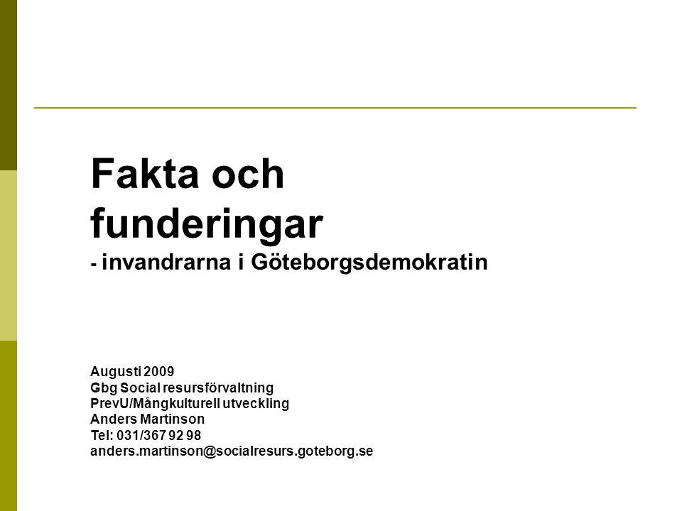 Fakta och funderingar - invandrarna i Göteborgsdemokratin Augusti 2009