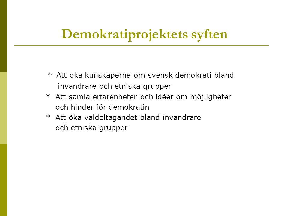 Demokratiprojektets syften
