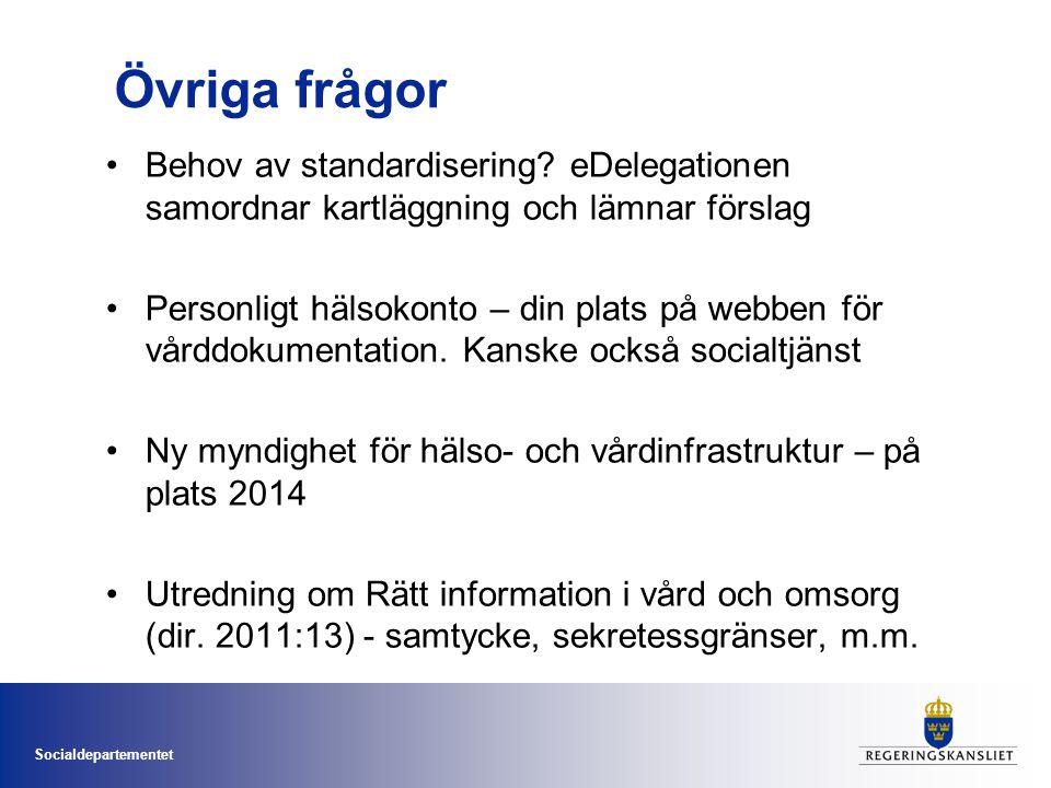 Övriga frågor Behov av standardisering eDelegationen samordnar kartläggning och lämnar förslag.
