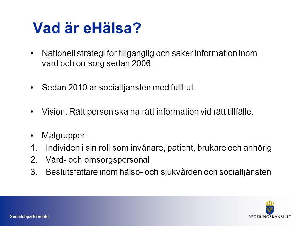 Vad är eHälsa Nationell strategi för tillgänglig och säker information inom vård och omsorg sedan 2006.
