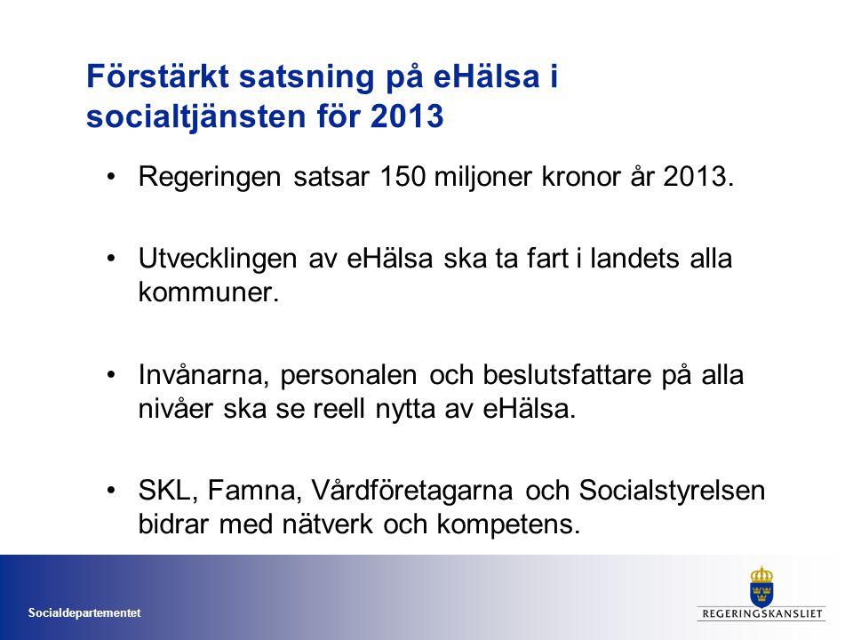 Förstärkt satsning på eHälsa i socialtjänsten för 2013