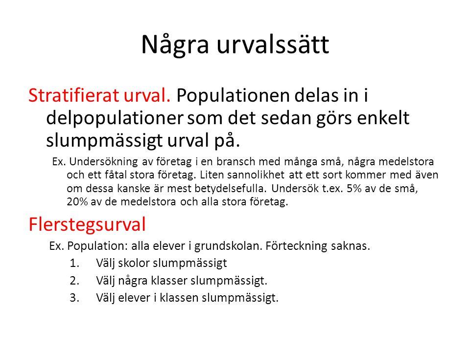 Några urvalssätt Stratifierat urval. Populationen delas in i delpopulationer som det sedan görs enkelt slumpmässigt urval på.